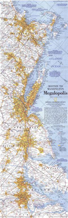 Boston To Washington Megalopolis Published 1994 Map