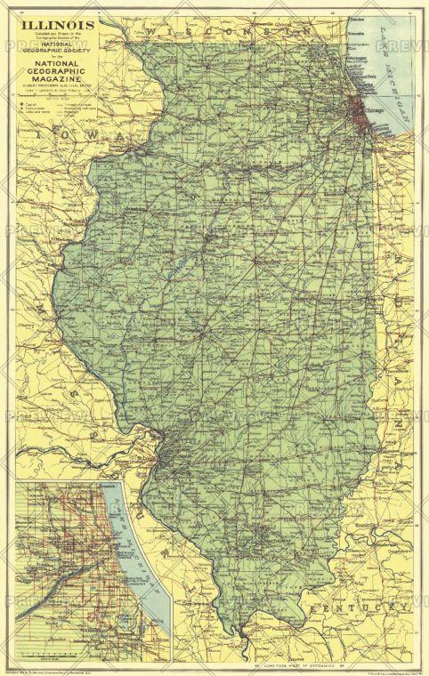 Illinois Published 1931 Map