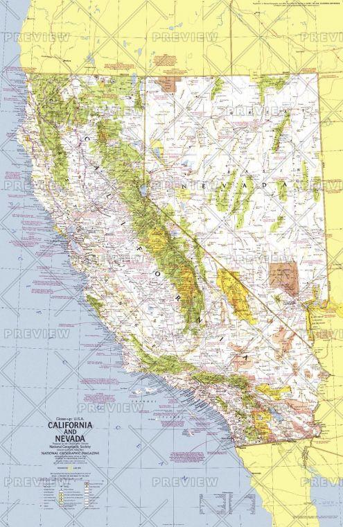 Close Up Usa California And Nevada Published 1974 Map