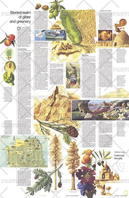 Close Up Usa California And Nevada Theme Published 1974 Map