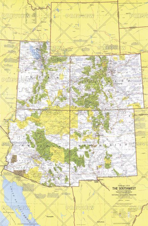 Close Up Usa Southwest Published 1977 Map