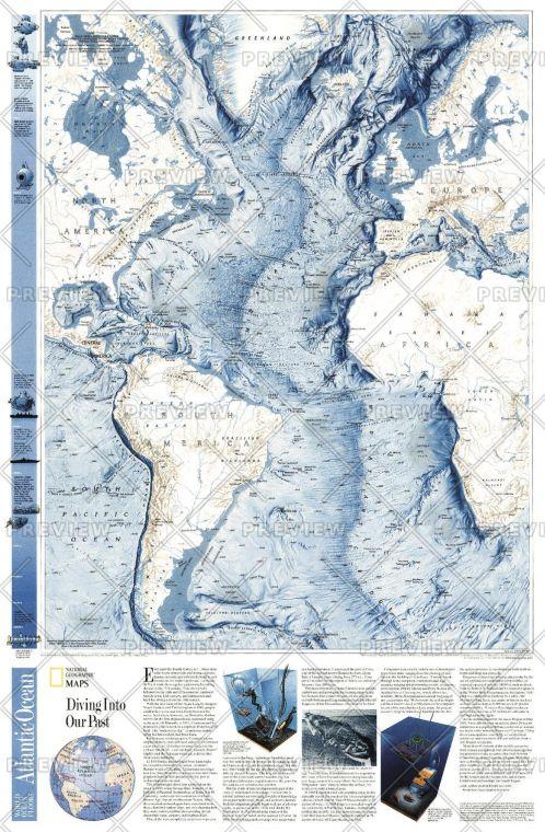 World Ocean Floor Atlantic Published 2001 Map