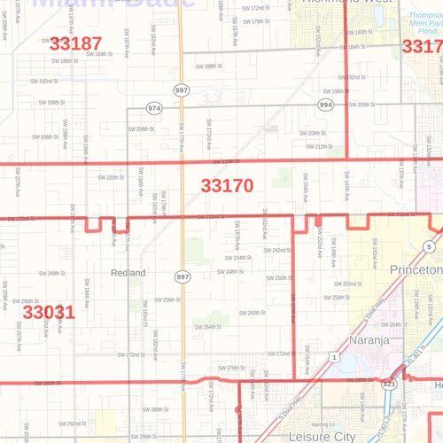 miami-dade county zip code map (florida)