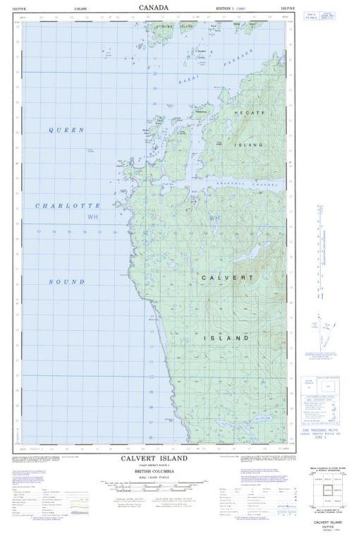 Calvert Island - 102 P/9 E - British Columbia Map
