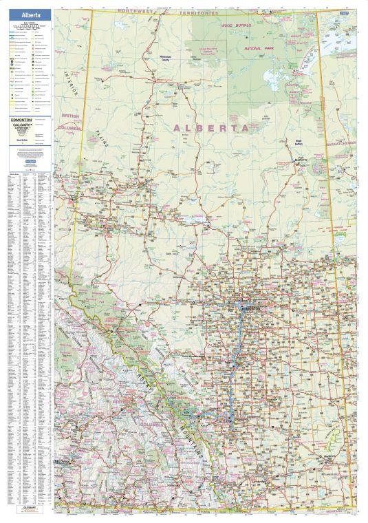Alberta Wall Map Large