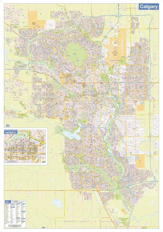 Calgary Wall Map Street Detail Large
