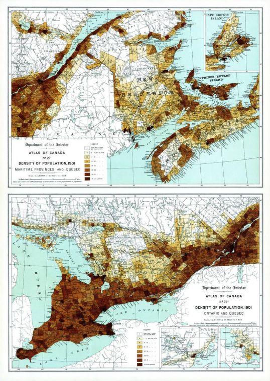 Density Of Population Maritime Provinces Quebec Ontario 1906 Map