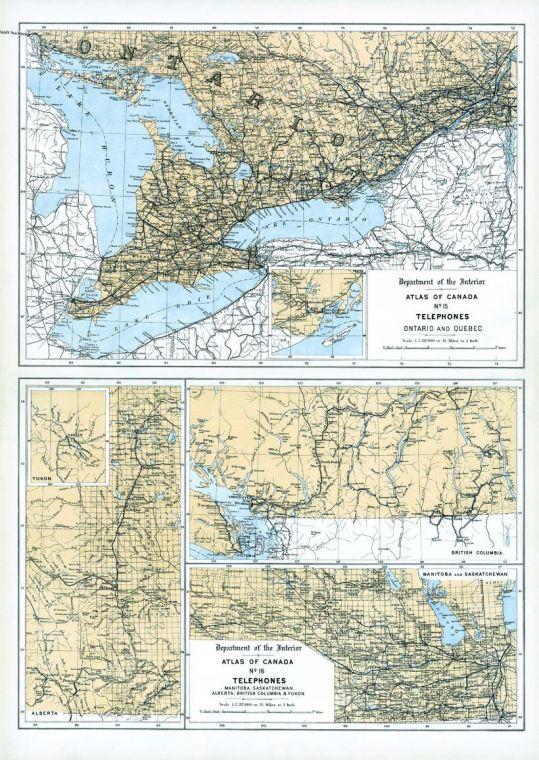 Telephones Ontario Quebec Western Canada And Yukon 1906 Map