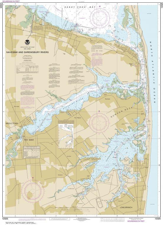 Noaa Chart 12325 Navesink And Shrewsbury Rivers