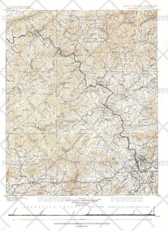 North Carolina Tennessee Cumerberland Blue Ridge Published 1889 Map