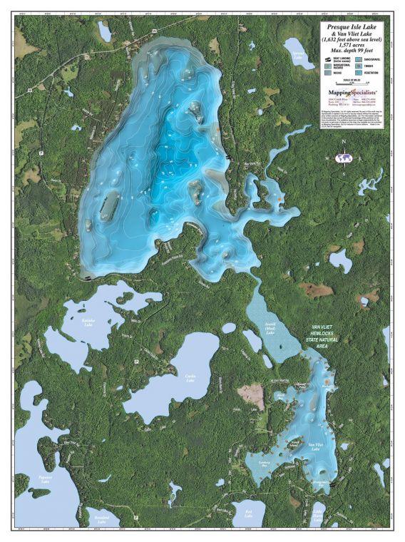 Presque Isle Van Vliet Lake Map