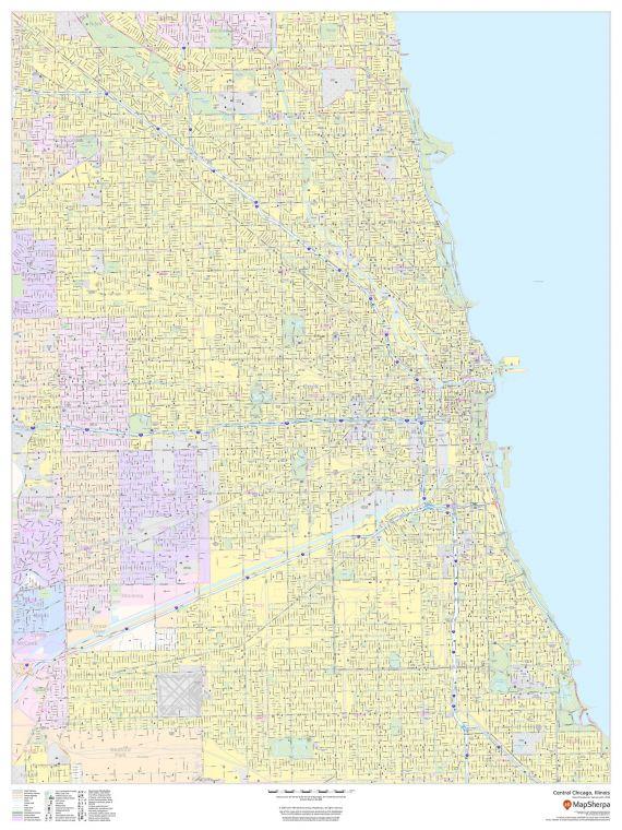 Central Chicago Illinois Portrait Map