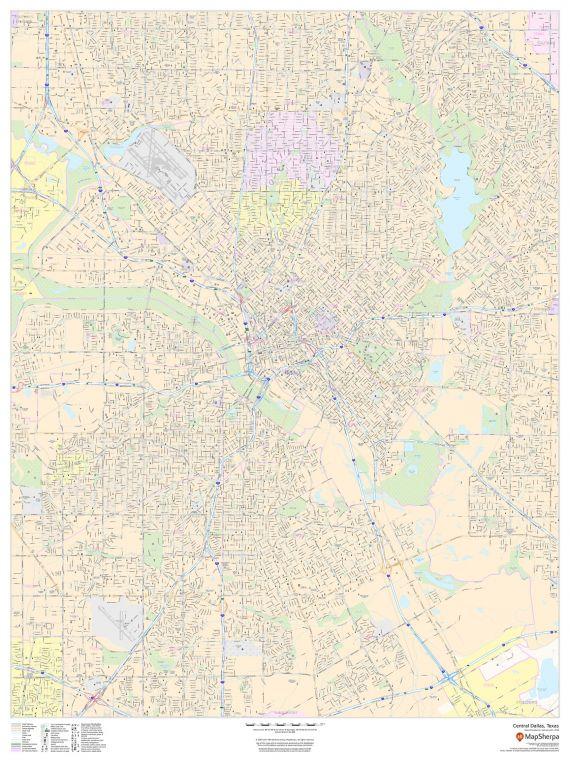 Central Dallas Texas Portrait Map