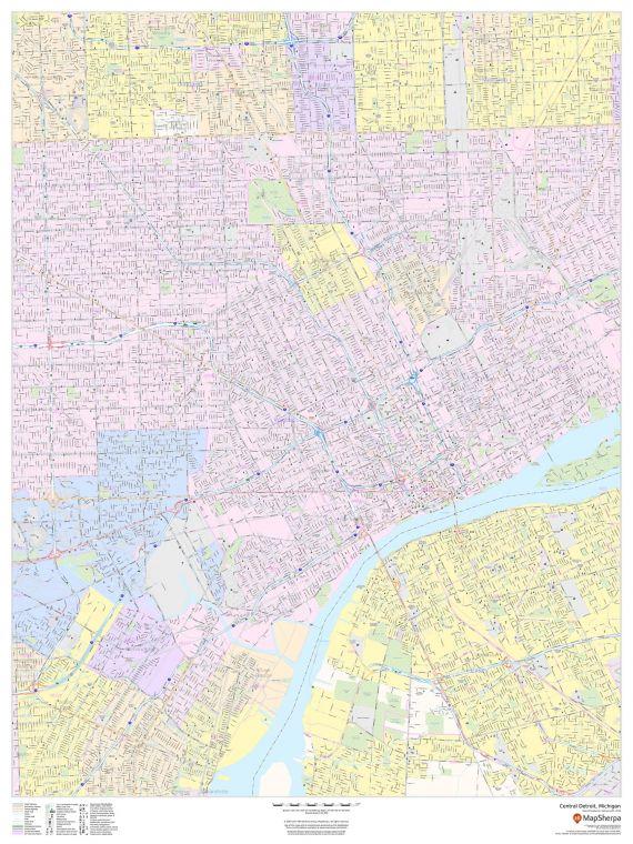Central Detroit Michigan Portrait Map