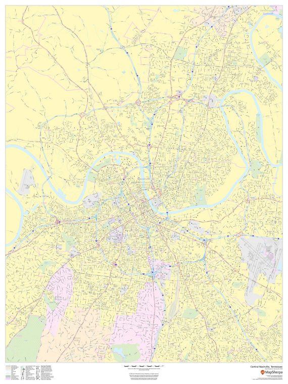 Central Nashville Tennessee Portrait Map