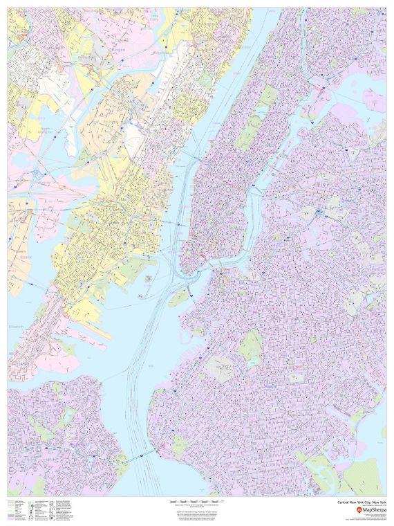 Central New York City New York Portrait Map