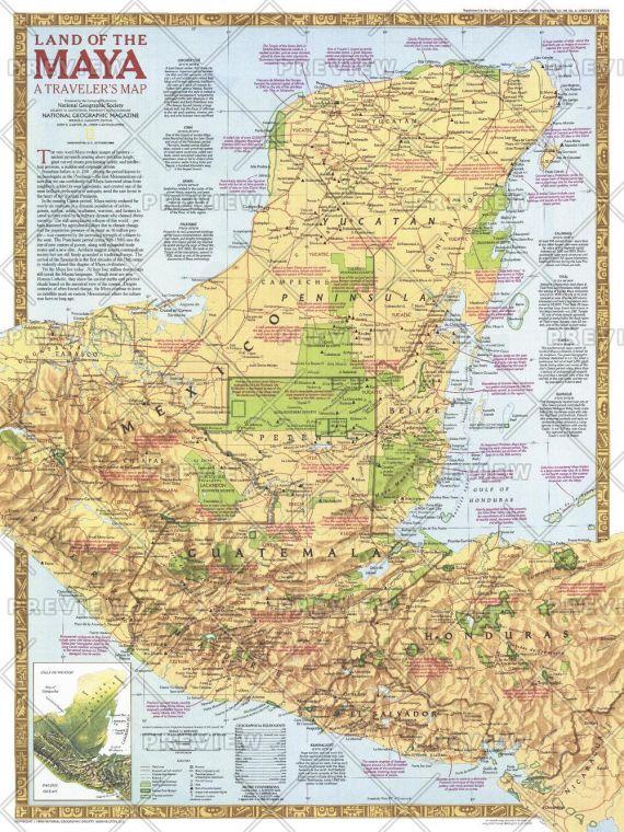 Land Of The Maya Published 1989 Map