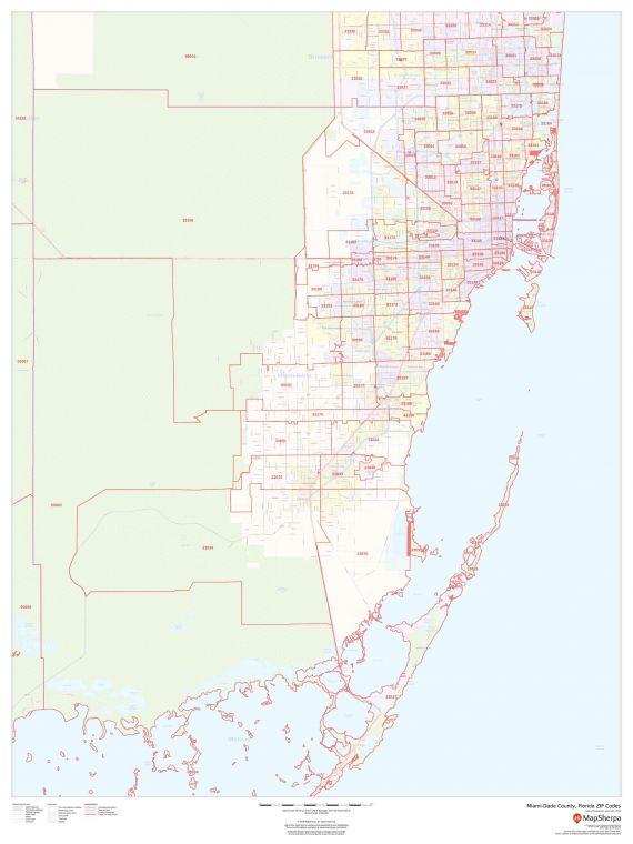 Miami Dade County Florida Zip Codes Map