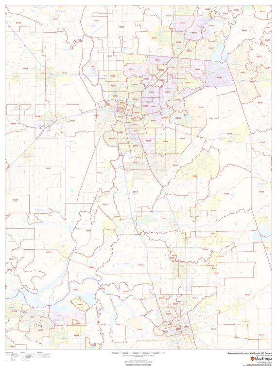 Sacramento County California Zip Codes Map