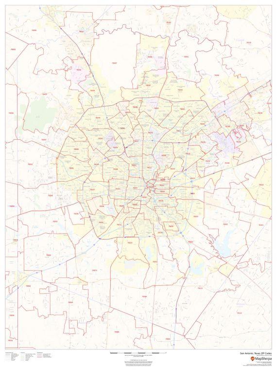 San Antonio Texas Zip Codes Map