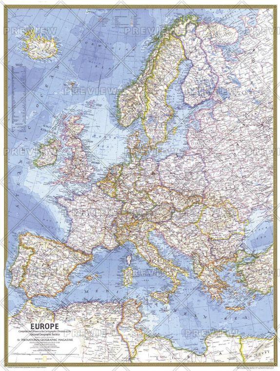 Europe Published 1977 Map