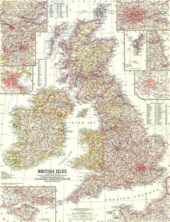 British Isles Published 1958 Map