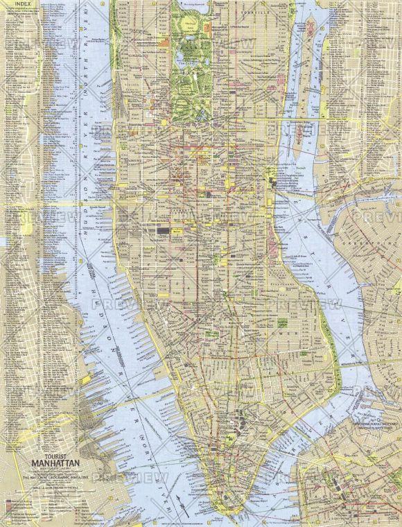 Tourist Manhattan Published 1964 Map