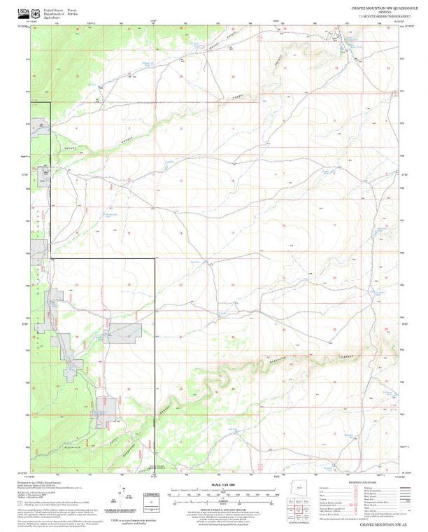 Chavez Mountain NW Quadrangle Map