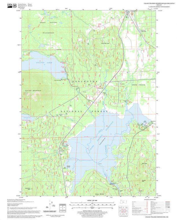 Crane Prairie Reservoir Quadrangle Map