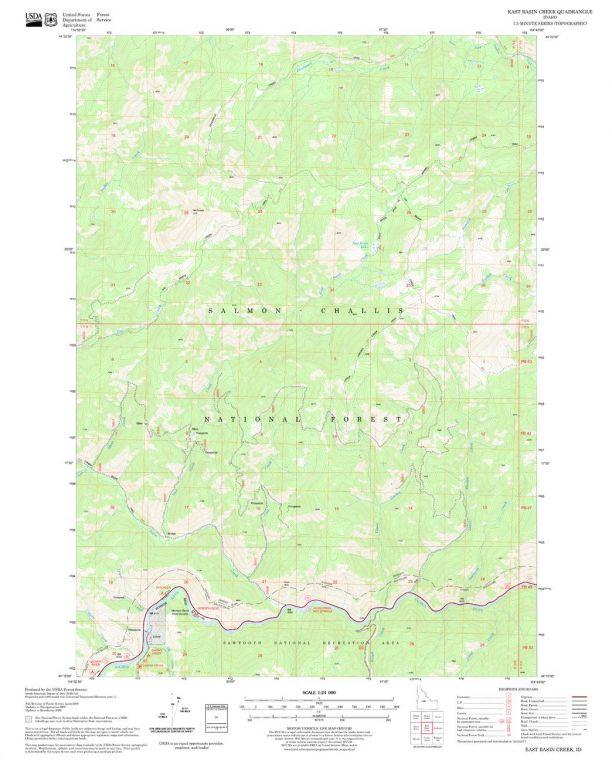East Basin Creek Quadrangle Map