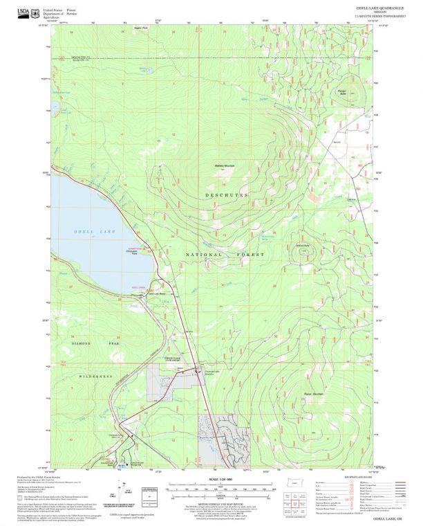 Odell Lake Quadrangle Map