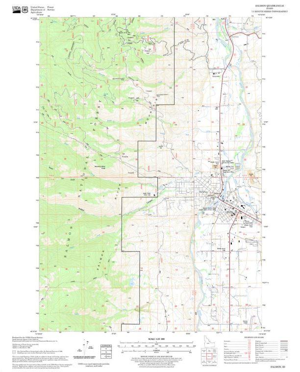 Salmon Quadrangle Map
