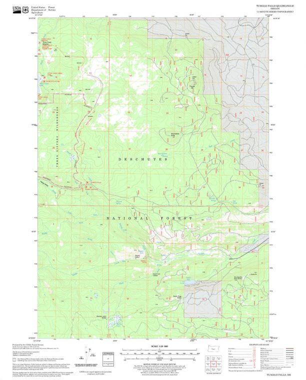 Tumalo Falls Quadrangle Map