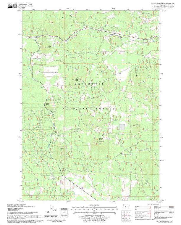 Wanoga Butte Quadrangle Map