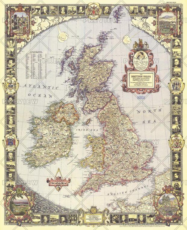 British Isles Published 1949 Map