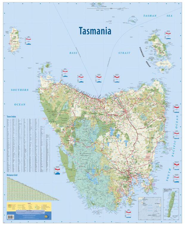 Tasmania Australia State Wall Map