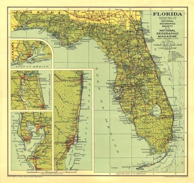 Florida Published 1930 Map