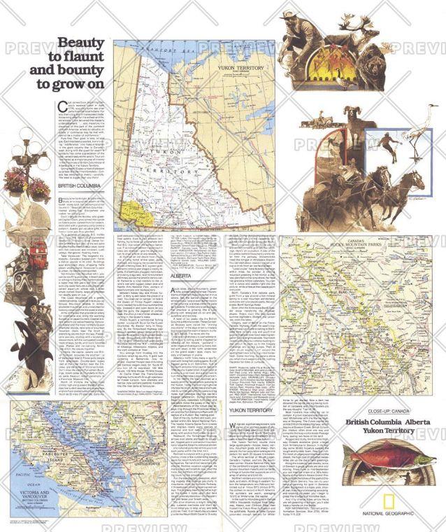 British Columbia Alberta And The Yukon Territory Theme Published 1978 Map