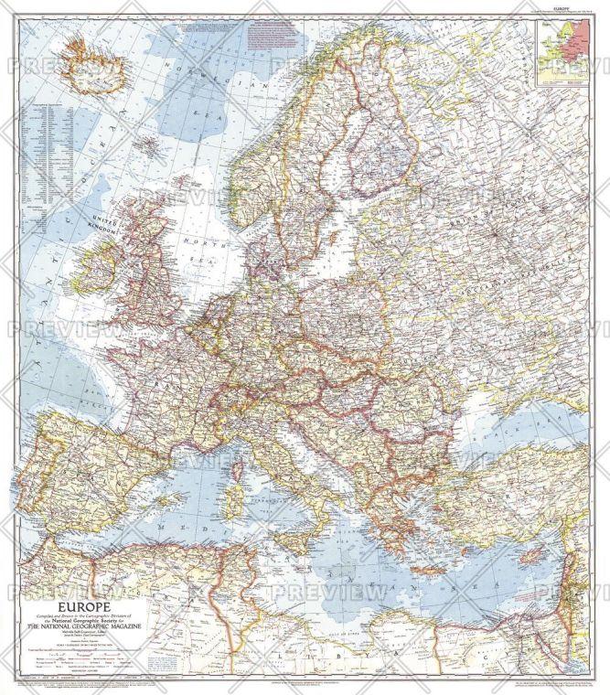 Europe Published 1957 Map