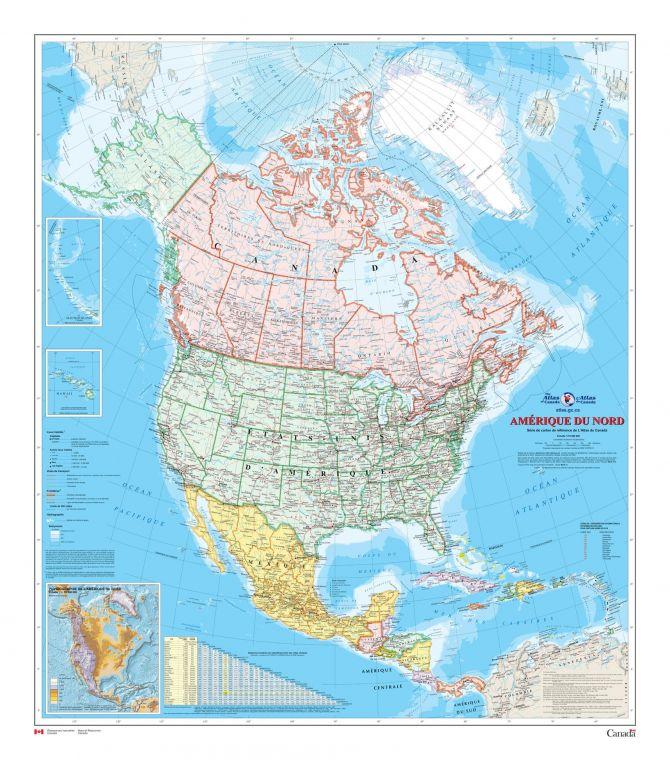 Amerique Du Nord Carte Murale L Atlas Du Canada Map