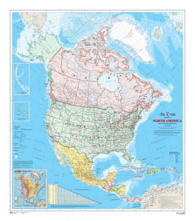 North America Wall Map Atlas Of Canada