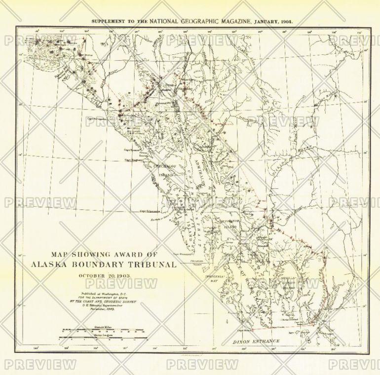 Map Showing Award Of Alaska Boundary Tribunal Of 1896 Published 1904