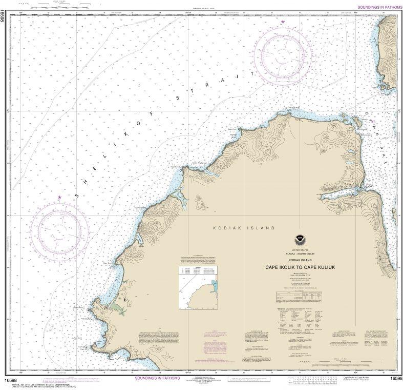 Noaa Chart 16598 Cape Ikolik To Cape Kuliuk