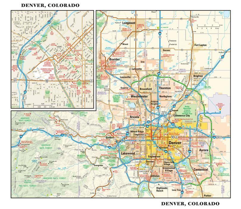 Denver Colorado Wall Map