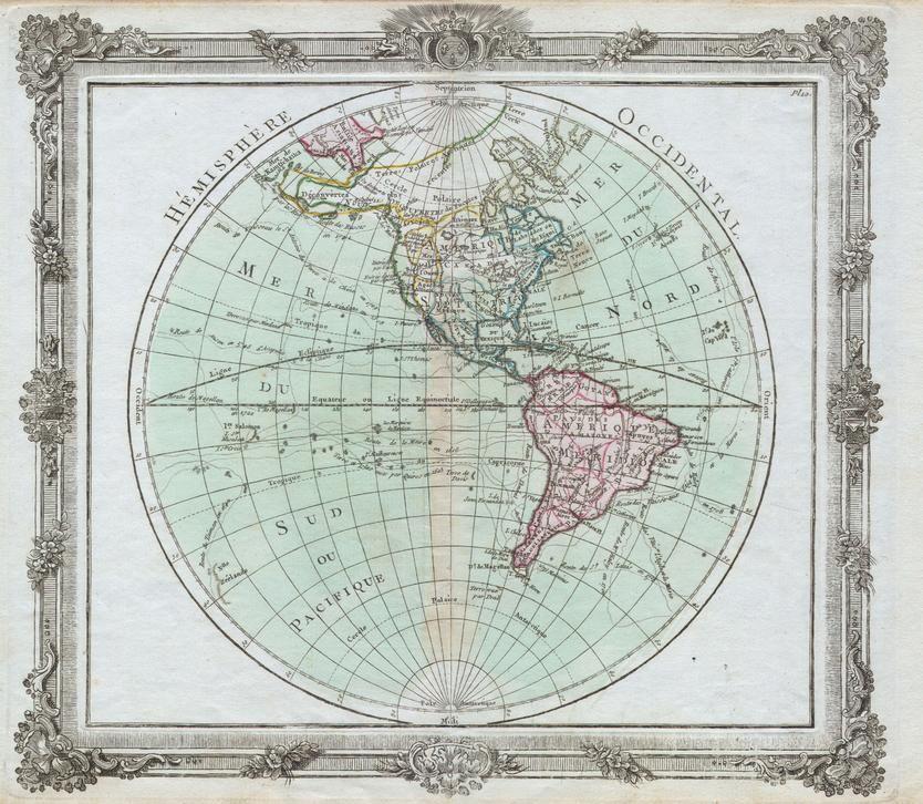 Brion De La Tour Map Of The Western Hemisphere 1764