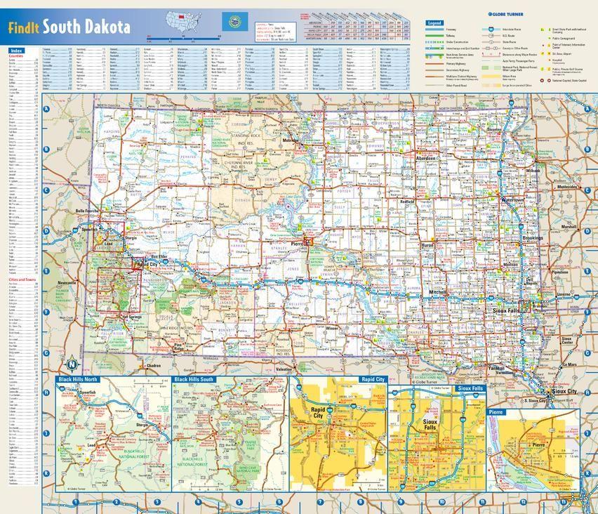 South Dakota State Wall Map