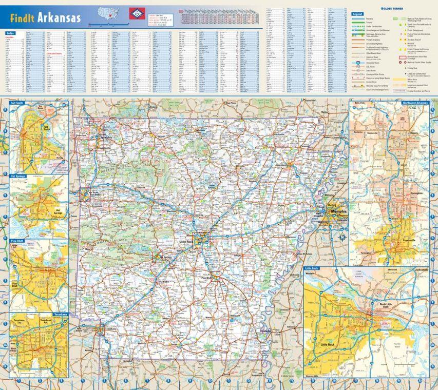 Arkansas State Wall Map