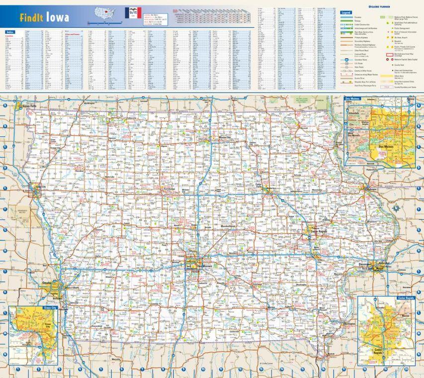 Iowa State Wall Map