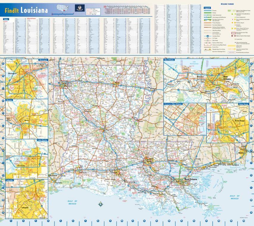 Louisiana State Wall Map