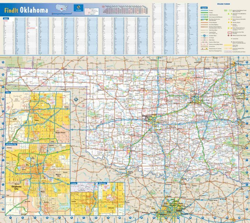 Oklahoma State Wall Map